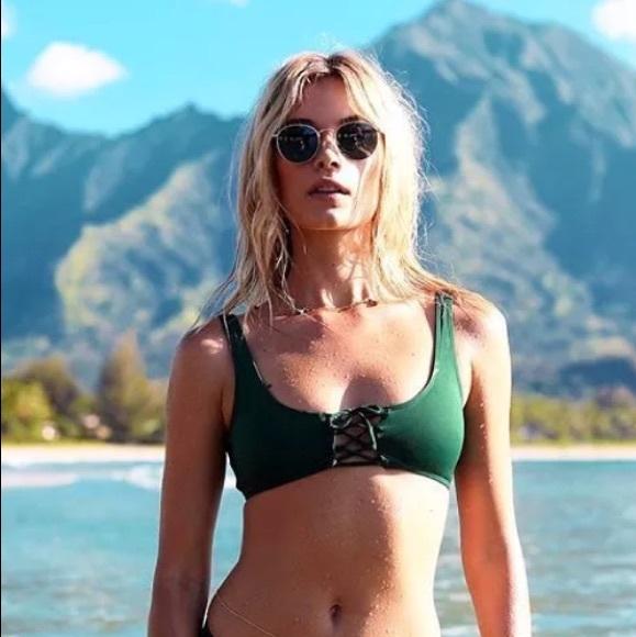fd5464da54 L Space Swim Emerald Green ROMI Lace Up Bikini Top